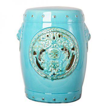 XY16-0709-r   景德镇 青蓝色釉中高温陶瓷镂空古典现代美式欧式做旧仿古陶瓷凳厂家直销