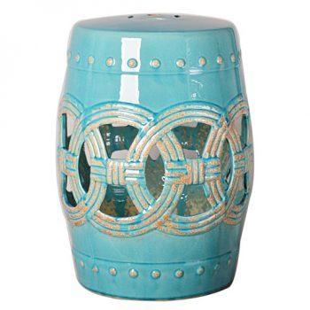 XY16-0709-t     景德镇 青蓝色釉中高温陶瓷镂空古典现代美式欧式做旧仿古陶瓷凳厂家直销