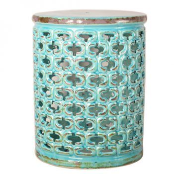 XY16-0709-v    景德镇   青蓝色釉中高温陶瓷镂空古典现代美式欧式做旧仿古陶瓷凳厂家直销