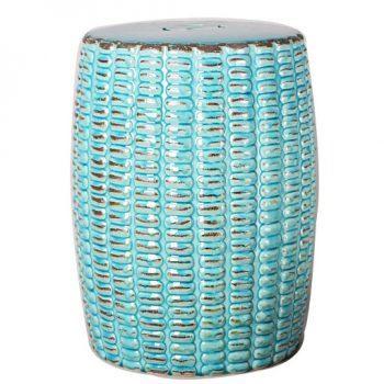 XY16-0709-zx    景德镇  色釉玻璃蓝做旧仿古新简约现代欧式陶瓷凳   凉墩厂家直销