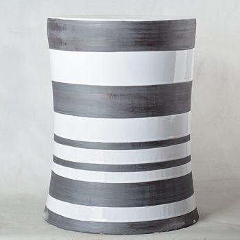 XY16-3385  景德镇 条纹圆柱形中高温陶瓷凳瓷墩花园凳子