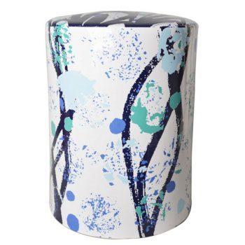 XY16-6     景德镇   条纹圆柱形中高温陶瓷凳瓷墩花园凳大号凳子