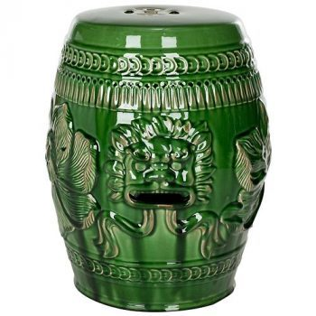 XY16-BG2088   景德镇 陶瓷 颜色釉 狮子头 瓷凳 凉墩 凳子 家居工艺