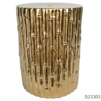 XY16-DJ3303     景德镇  镀金黄竹条陶瓷凳子瓷墩花园凳中高温色釉厂家直销