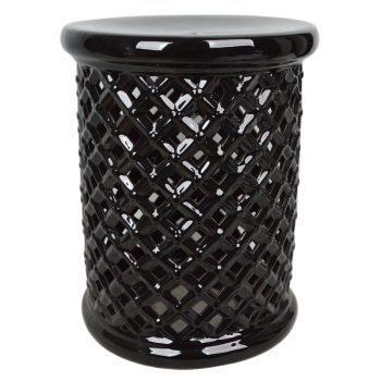 XY16-IJ3201    景德镇  乌金釉 镂空立柱形中温色釉陶瓷凳厂家直销