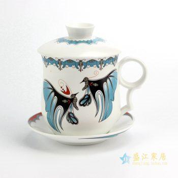 032-CBAD     景德镇  定做定制订制 四件套(杯盖 杯身 茶漏 拖碟)办公杯 茶杯  脸谱