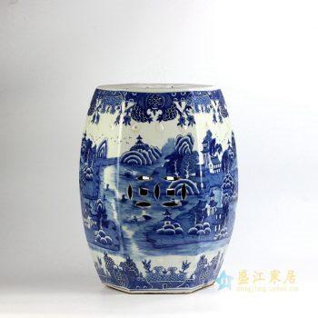 RYLU91-C     景德镇  仿古  山水手绘青花 六边形 六方 铜钱瓷凳  厂家直销