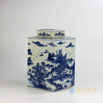 RYUK15-C    景德镇  青花手绘 山水四方罐储物罐  茶叶罐   厂家直销