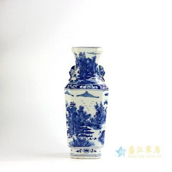 RYUK17-B    景德镇   山水手绘 青花双耳 花瓶 陈设   厂家直销