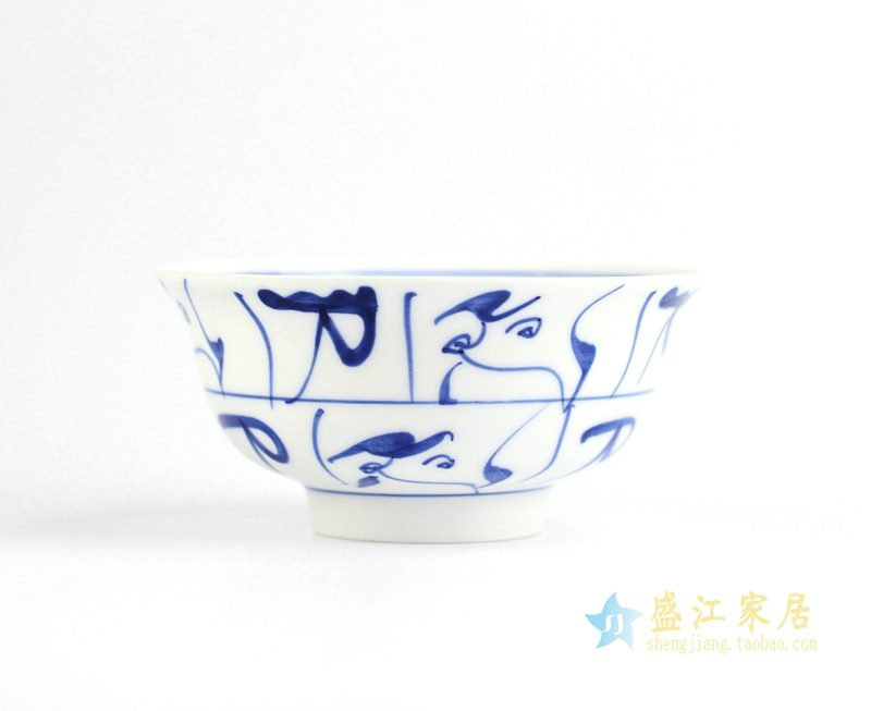 景德镇高温白瓷 青花  手绘茶花碗 饭碗 5.5寸