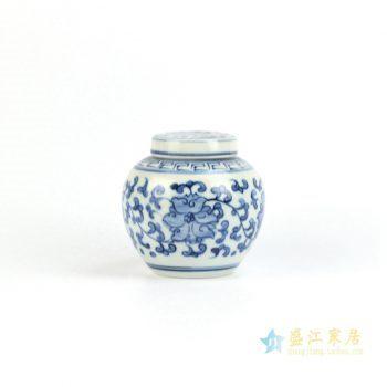 RZIQ05     景德镇   手绘青花缠枝 小茶叶罐 罐子 储物罐