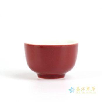 RZIU01-B   景德镇  高温色釉 祭红 功夫茶杯 品茗杯 小茶杯   厂家直销