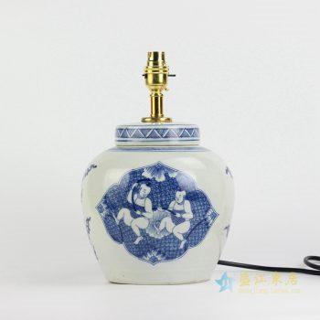 ds76-ryqq53-a 景德镇 青花童子台灯灯具 陶瓷灯日用实用品