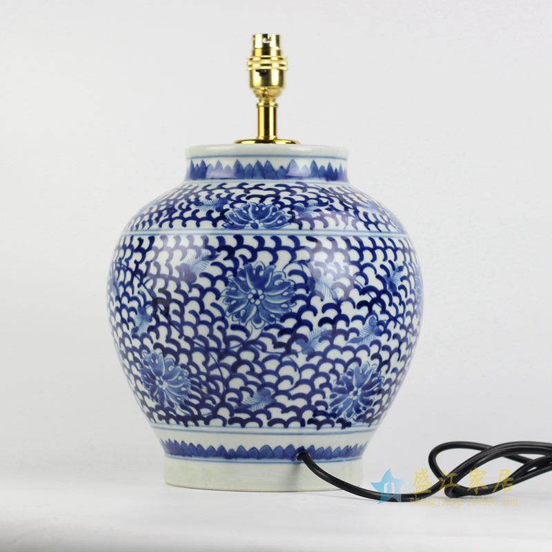景德镇 手绘青花缠枝莲台灯陶瓷灯具