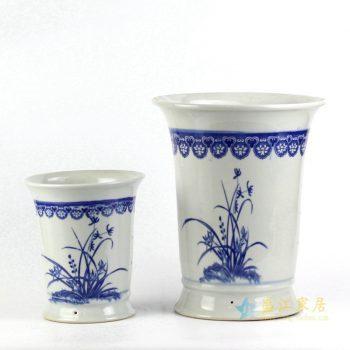 ryiq28-b  景德镇 双盆青花兰花花鸟 花盆