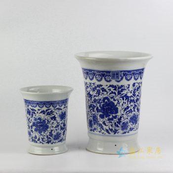 ryiq28-d 景德镇 双盆青花缠枝莲花盆