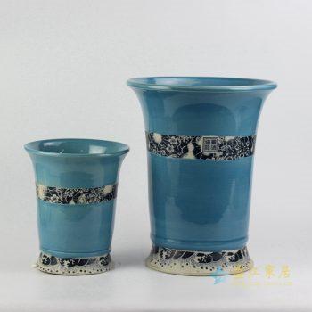 ryiq28-c  景德镇 双盆兰釉 花卉 颜色釉 高温颜色釉花盆