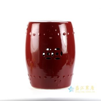 rykb111-e  景德镇 红釉郎红 高温色釉 颜色釉凳子