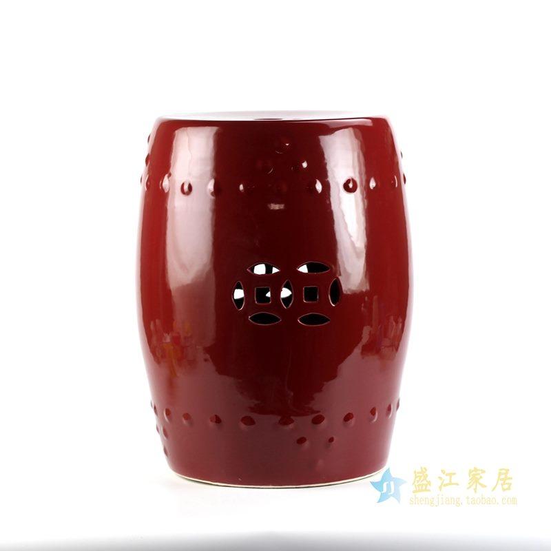景德镇 红釉郎红 高温色釉 颜色釉凳子