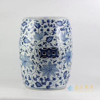 rynq192 景德镇 手绘青花花藤铜钱凳