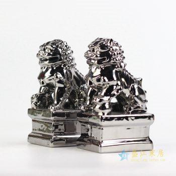 ryxp21-l  景德镇 镀银 金色对狮 小狮子狗 雕塑 艺术摆设品