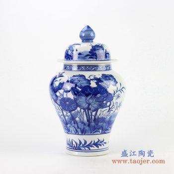 ryci39     景德镇  青花荷花鸟将军罐  厂家直销