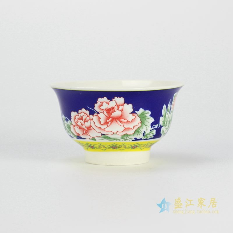 颜色釉牡丹花饭碗   家庭实用   景德镇厂家直销