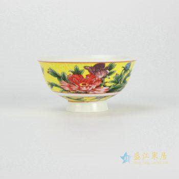 ryhz11-k-1     颜色釉 粉彩花鸟饭碗  汤碗  高脚碗  厂家直销