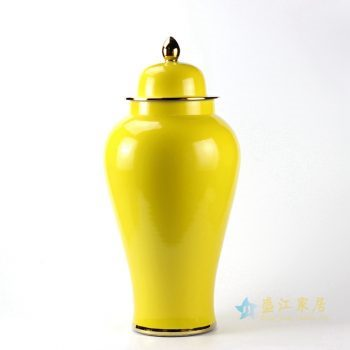 rykb132-g  颜色釉 黄色将军罐 艺术摆件品 厂家直销