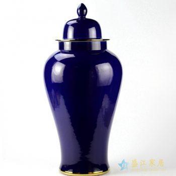 rykb132-h     颜色釉将军罐   深兰色罐子 艺术摆件品厂家直销