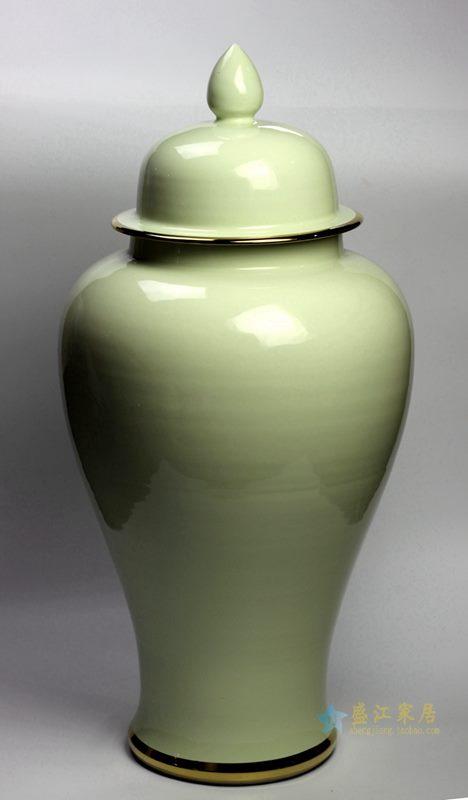 颜色釉  淡绿将军罐  艺术花瓶 厂家直销