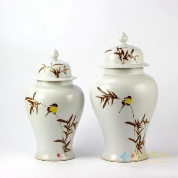 rykb144     景德镇  颜色釉花鸟将军罐   艺术花瓶  摆设品