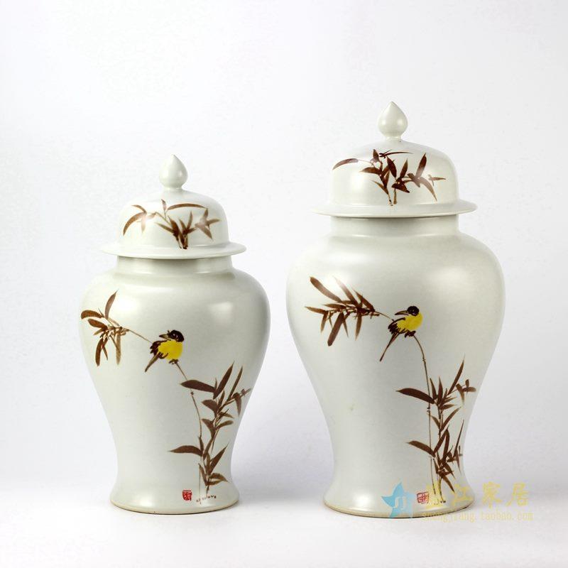 景德镇  颜色釉花鸟将军罐   艺术花瓶  摆设品