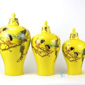 rykb145   景德镇 颜色釉黄色花鸟罐  储物罐   厂家直销