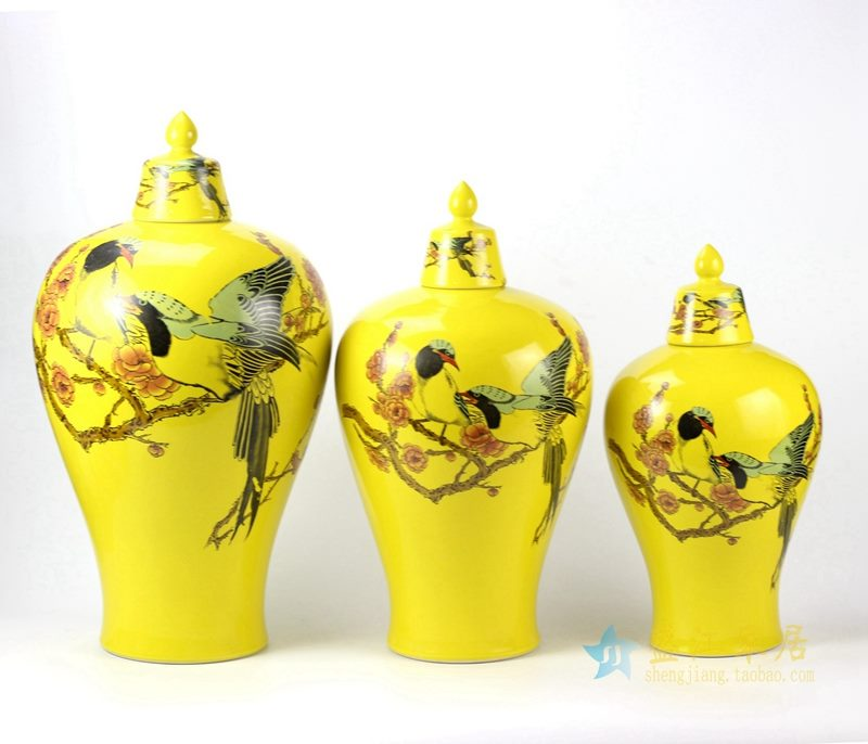 景德镇 颜色釉黄色花鸟罐  储物罐   厂家直销