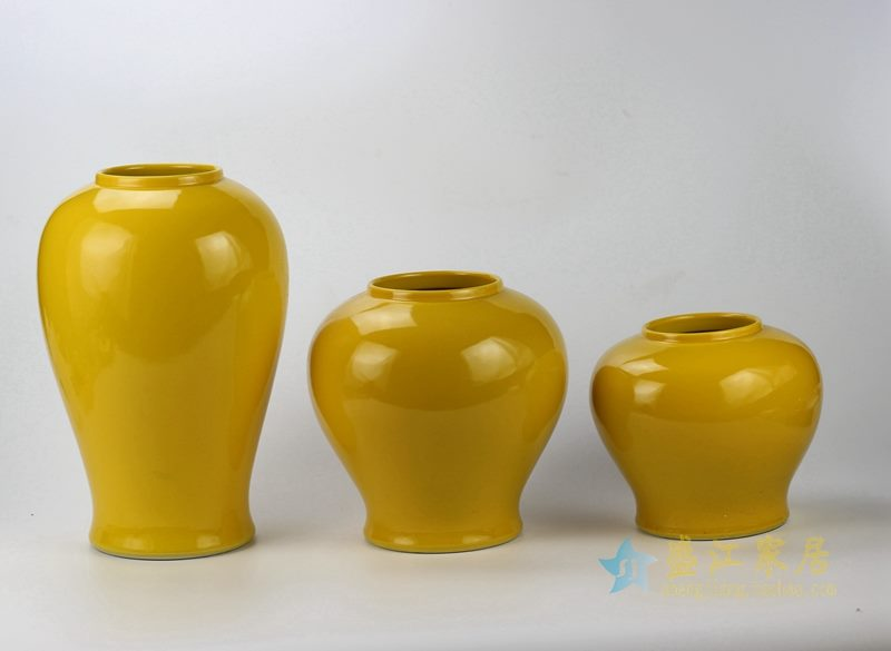 景德镇   颜色釉罐子  黄色储物罐  厂家直销