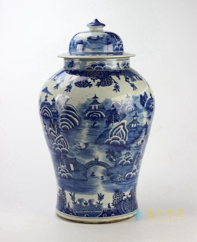 景德镇  青花将军罐花瓶 艺术品特价促销