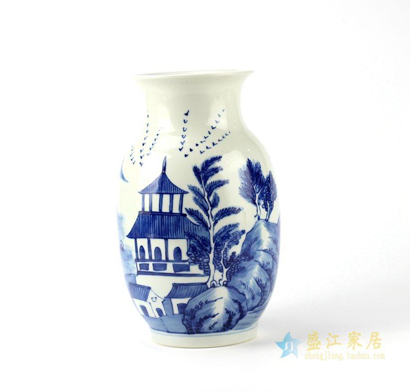 青花手绘花瓶  艺术摆件品 景德镇厂家直销