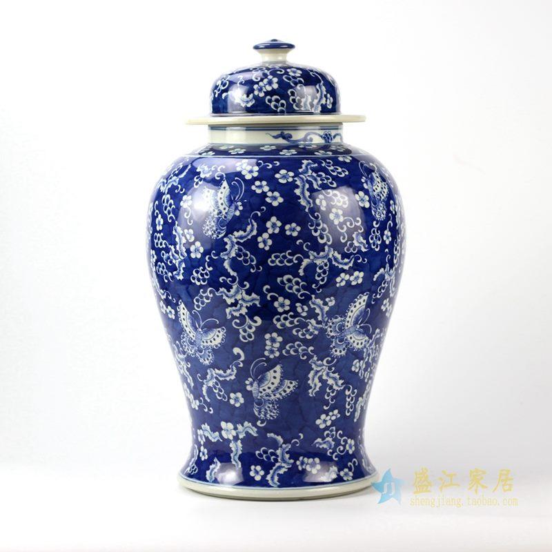 青花混水将军罐  艺术花瓶景德镇