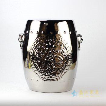 rynq177-c      陶瓷凳 景德镇 镀银凉凳  花园凳 厂家直销