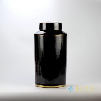 rynq184-d   米黄色金边直筒茶叶罐 盖罐 罐子
