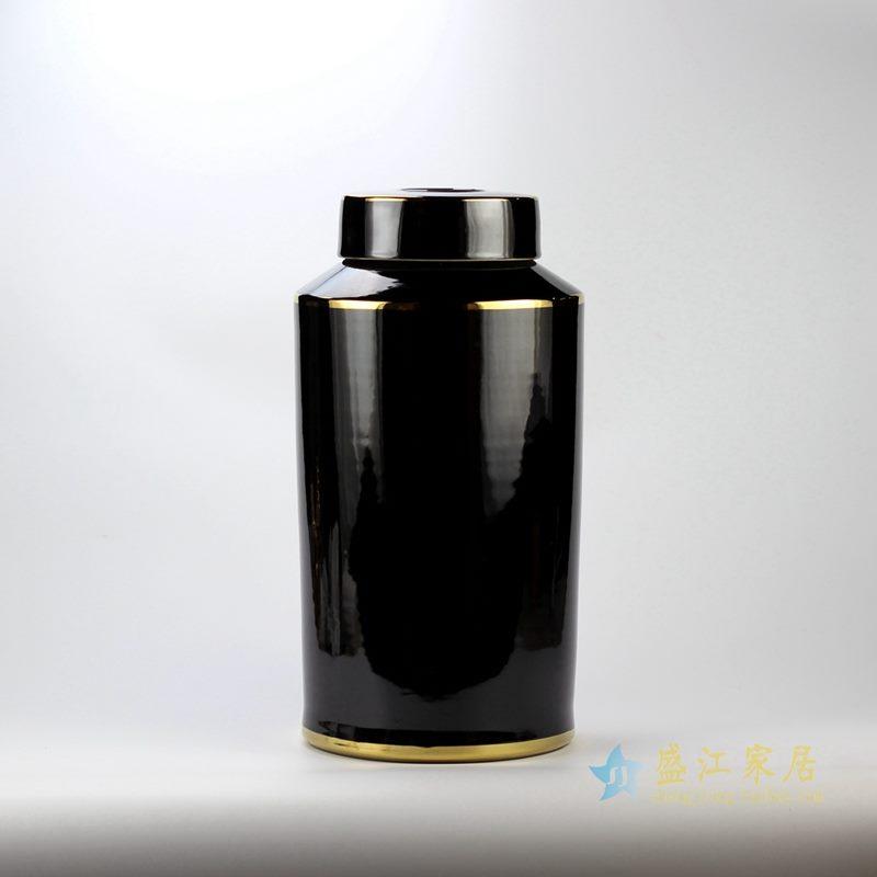 米黄色金边直筒茶叶罐 盖罐 罐子