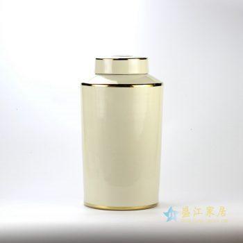 rynq184-e    米黄色金边直筒茶叶罐 盖罐 罐子