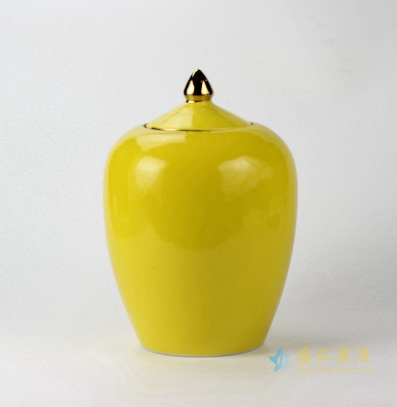 景德镇  颜色釉黄色茶叶罐  密封罐  厂家直销