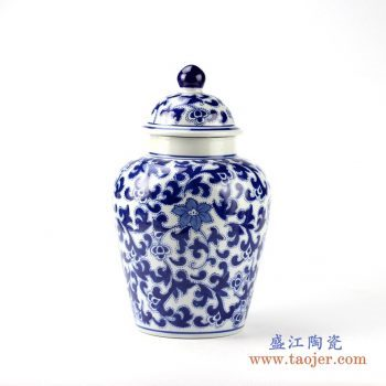 rypu15-e    青花缠枝罐将军罐盖罐  艺术摆件品