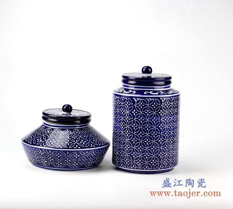 青花蓝底圆圈茶叶罐 盖罐