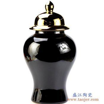 ryrj14-e    镀金盖子 乌金釉将军罐 盖罐  艺术摆件品