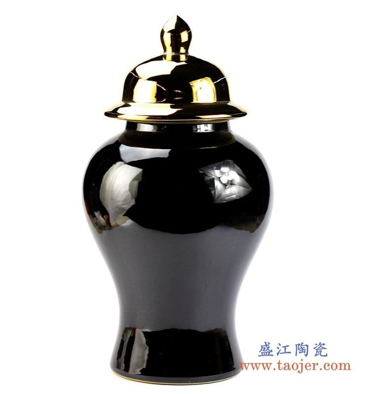 镀金盖子 乌金釉将军罐 盖罐
