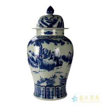 ryuc04     大号 手绘青花山水 人物 将军罐  艺术摆件品