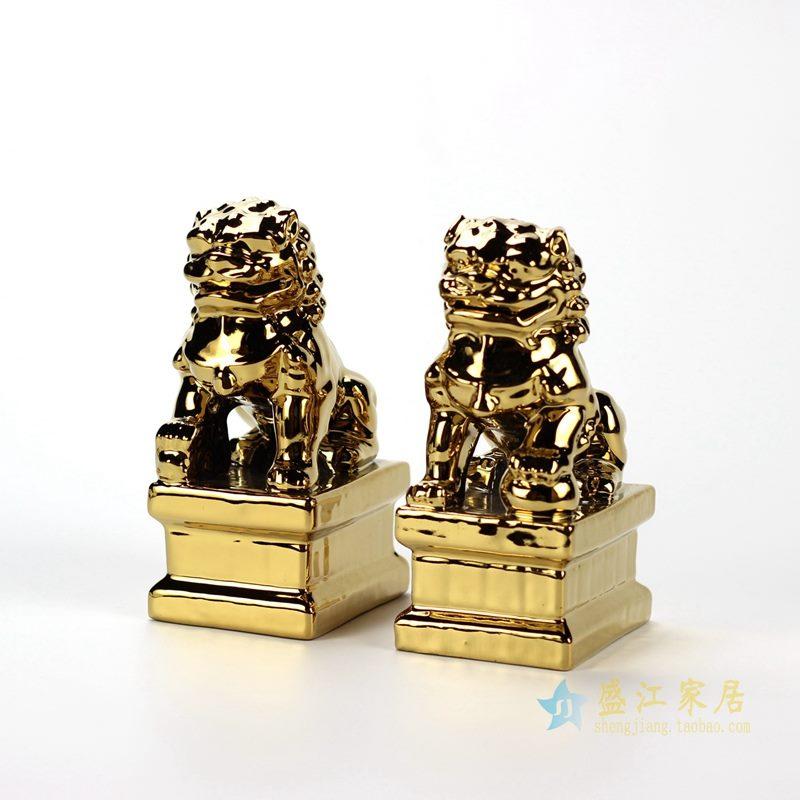 雕塑小狮子 高温镀金摆件品